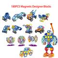 Min 180PCS Set Magnetic Designer Building Blocks Toys Technic Plastic Bricks Assembly Enlighten Blocks Children DIY
