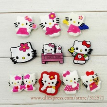 20pcs Hello Kitty shoe accessories PVC shoe charms shoe decoration for croc wristbands kids gift(China (Mainland))