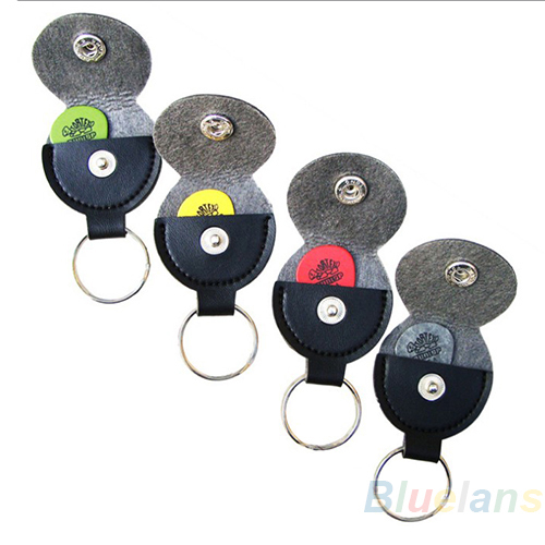 Leather Key Chain Guitar Picks Holder Keychain Plectrums Bag Case Sale 1NDL 2K4B(China (Mainland))