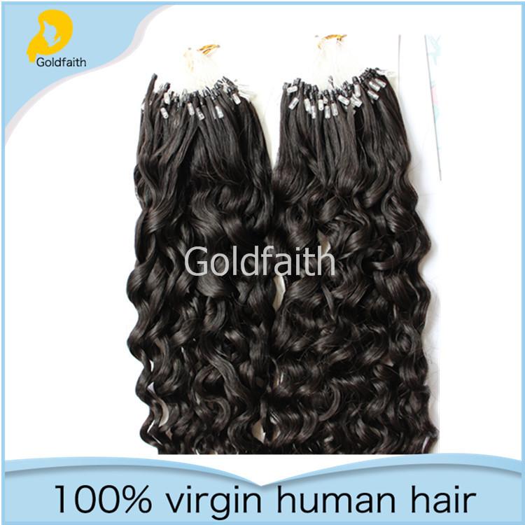 Micro Ring Loop Hair Extensions Brazilian Virgin Hair Easy Loop Natural Black Curly Micro Bead Ring Hair Extensions(China (Mainland))