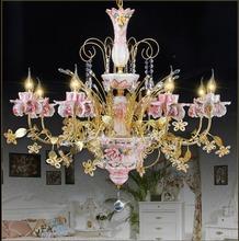 8 lights uxury classical royal ceramic art metal small crystal chandeliers lights handmade glass art shade(China (Mainland))