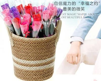 150pcs/lot Soap Rose with ribbon, handmade wedding soap flower, No-fading Hotel/Wedding/Birthday Valantine Gift free shipping(China (Mainland))