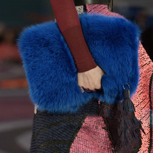 Korean Style Plush Fur Lady's Day Clutches Handbags Causal Tassels Winter Women's Bag Fold Over Envelope Bag