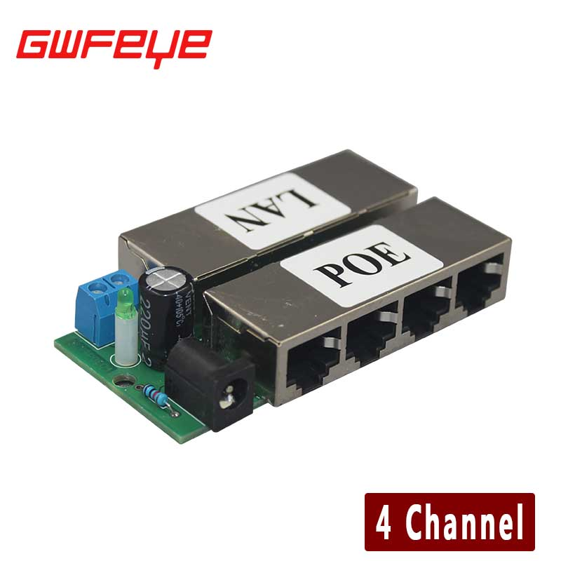 GWFEYE 4CH Channel CCTV POE Injector for Surveillance IP Cameras Power over Ethernet Adapter Without Shell(China (Mainland))