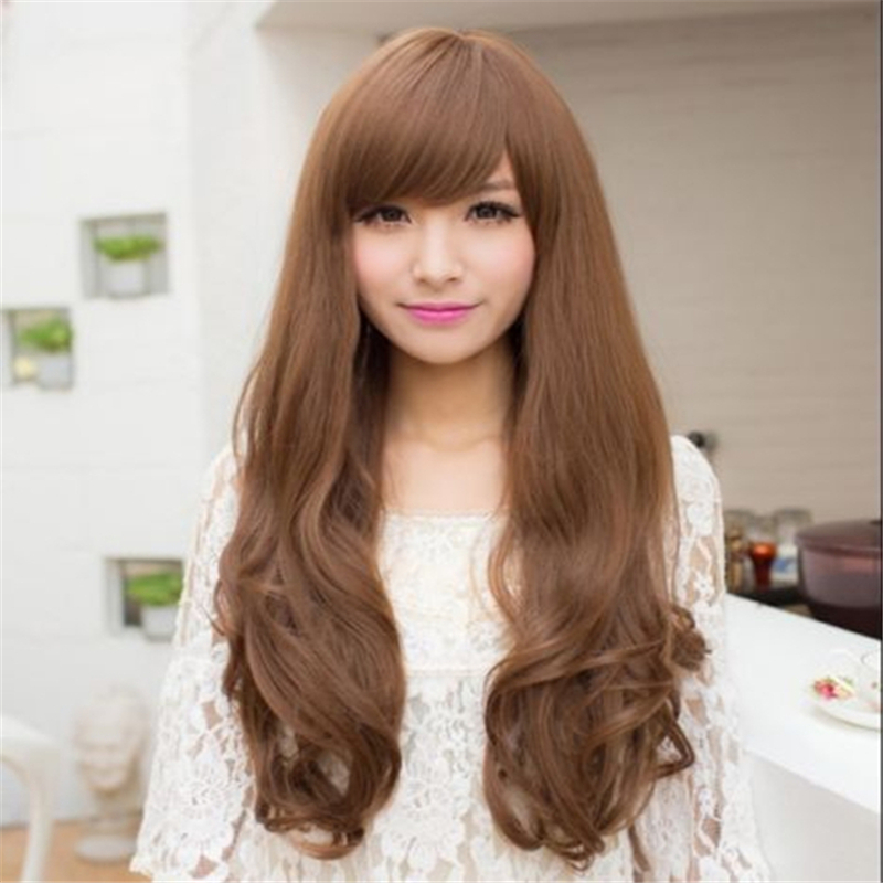 fashion long curly wig with bangs korean women wigs natural hair heat resistant synthetic wigs high quality harajuku wig cosplay(China (Mainland))