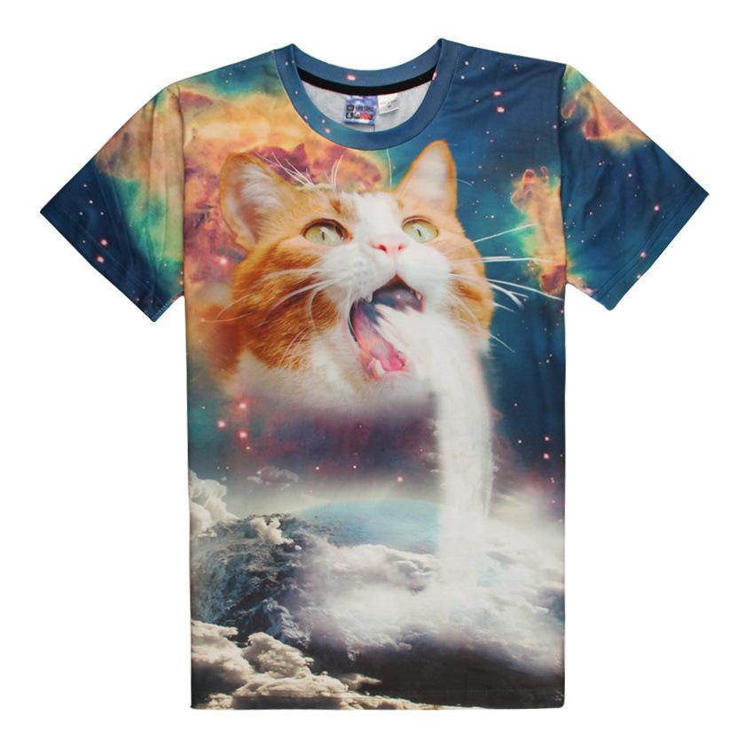 2016 New Arrival Spring Summer 3D T Shirt Jet Cat Printed T-shirts Women Men Fashion Short Sleeve T-shirt Women Tee Tops B400(China (Mainland))