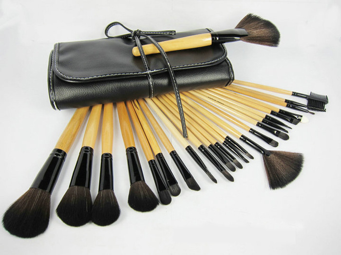2016 Hot Goat Hair Professional Makeup Brush Set Wood Makeup Brushes 24PCS/Set with Deluxe Leather Bag Black Cosmetic Brush Set(China (Mainland))