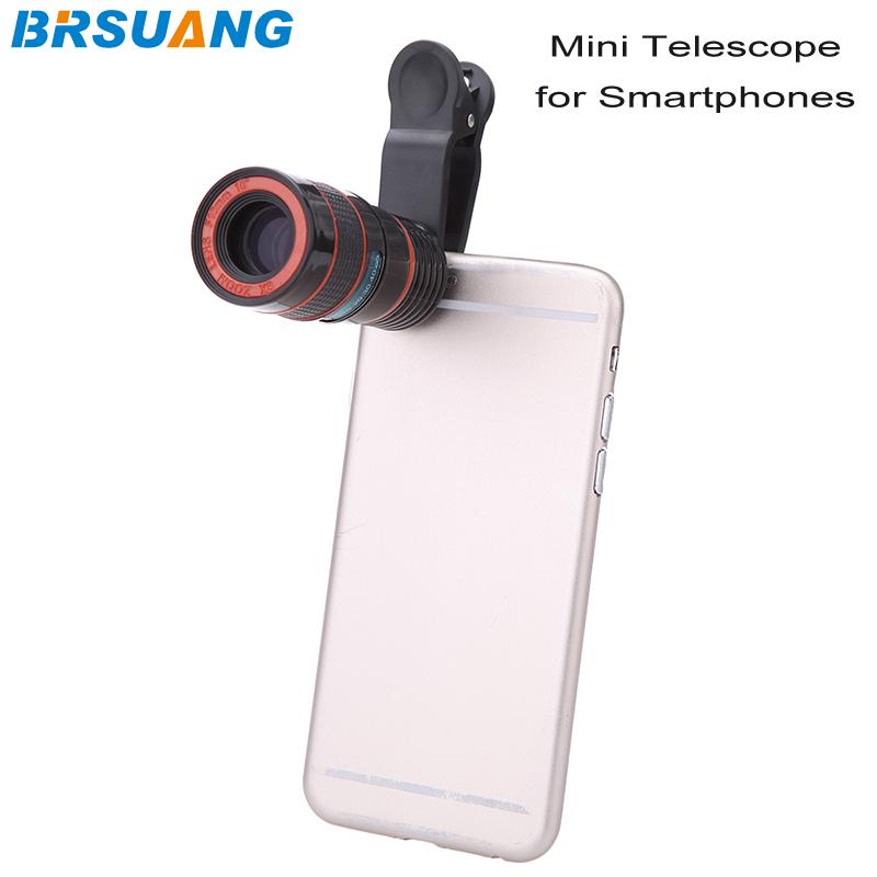 20pcs/lot Universal 8X Zoom Telescopic Mobile Phone Clip Telescope Lens iPhone 5 5s SE 6 6s plus Samsung HTC LG Smartphones