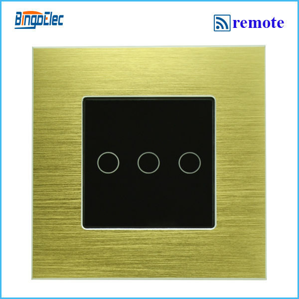 3gang 1way remote touch light switch,golden aluminum and black glass panel touch switch, EU/UK standard AC110-250V,free shipping<br><br>Aliexpress
