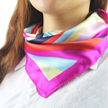 Essential Hot Satin Silk Square Scarf Women Fashion Four Seasons Rainbow Stripe Silk Satin Scarves