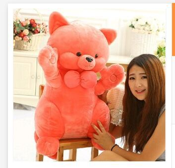 huge toy 95cm pink fortune cat plush toy soft bowtie cat hugging pillow toy, birthday gift t6042<br><br>Aliexpress