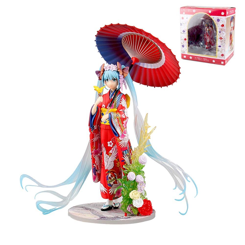 Anime Hatsune Miku Kimono Red PVC 1/8 Figure Collection Model Kids Toys for Girls Children Gifts MV001038(China (Mainland))