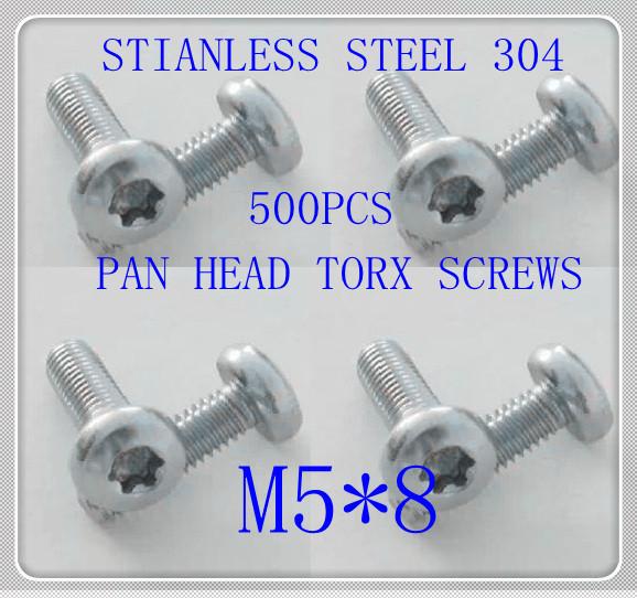 500pcs/lot Factory Direct Stainless Steel 304 M5*8 Pan Head Torx Screw<br><br>Aliexpress