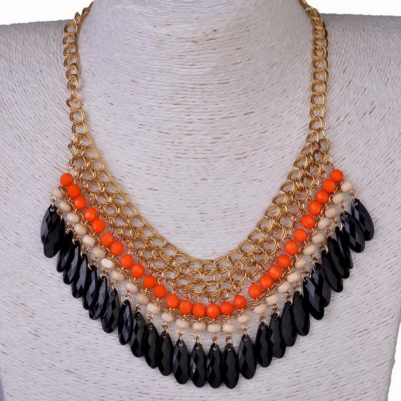 Statement Bohemian Resin Beads Collares Necklaces & Pendants Gold Choker Colar for women jewelry Accessories 2015 Collier Femme(China (Mainland))