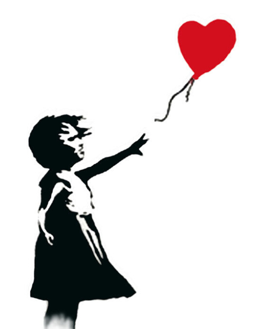 Bansky Graffiti Balloon Girl Fine Art Repro Canvas by Hand painted (no Frame)(China (Mainland))