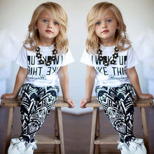 2pcs Kids Girls I Woke Up Like This White Tops shirt+Pants Outfits Set 2-9Y(China (Mainland))