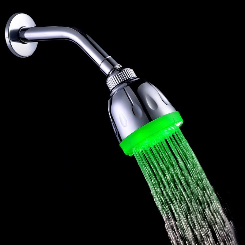 Water Glow LED Light Shower Heads Multicolor Temperature Sensor 7 Colors Change Shower Head Bathroom Accessories(China (Mainland))