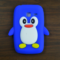 1pcs Popular 3D Cute Penguin Soft Rubber Silicone Case Cover Skin For Samsung Galaxy Y Duos S6102 + free gift
