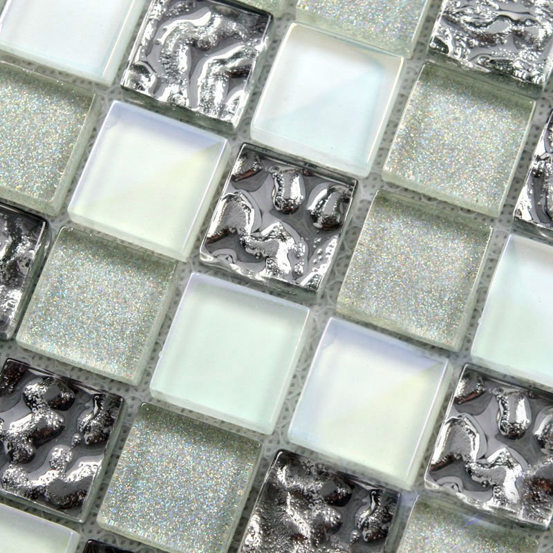 Crystal glass tile sheets square tiling mosaic art metal