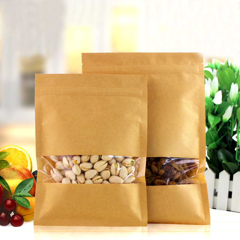 100pcs/lot 12cm*20cm*140mic High Quality Kraft Paper Pouch Food Saver Tea Pouches And Bags Wholesaler(China (Mainland))