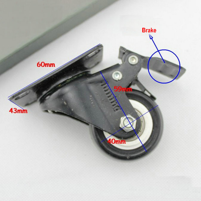 4PC/Lot 1.5INCH(40MM) Mini Wheel Caster With Brake,Bearing Swivel Furniture Caster,Mute PU Wheel+Threaded Rod or Plate Shape<br><br>Aliexpress