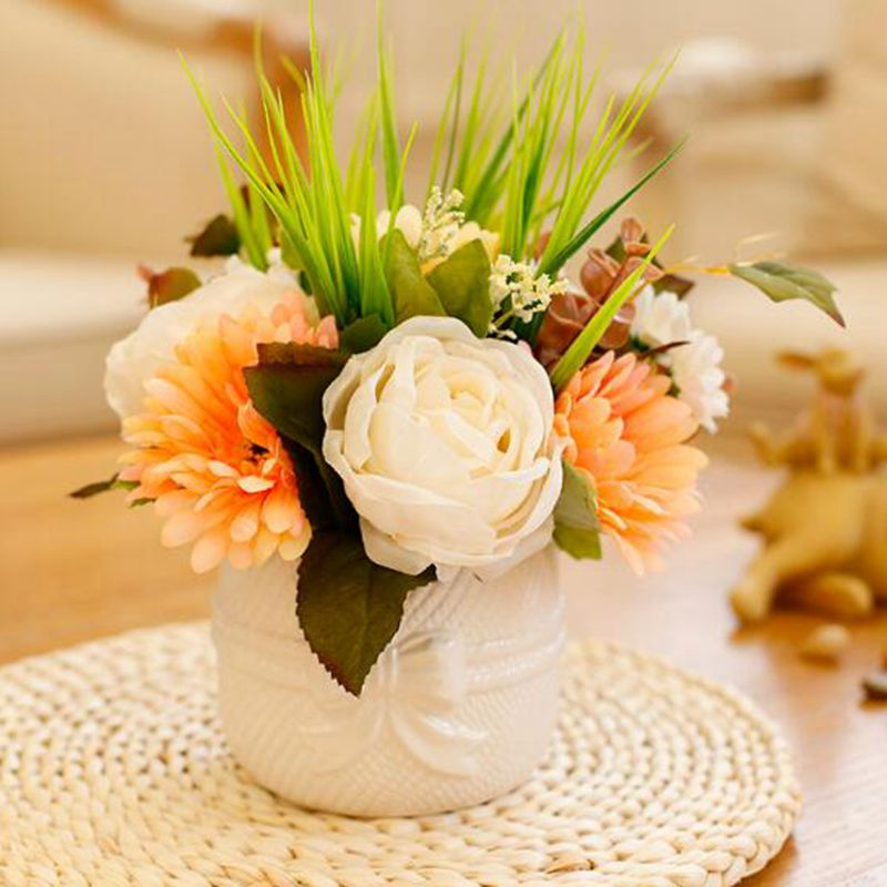 Decorative flower with white ceramic flower pot american style home decor floral artificial high qulity silk flower(China (Mainland))