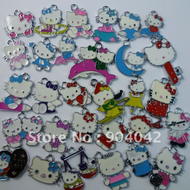 Free shipping 100 pcs/lot Mixed Hello Kitty  Alloy Enamel Pendants Free shipping