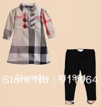 2013 Free Shipping--girls check shirt  2pcs set,Baby fashion brand summer outfit Middle sleeve T-shirt black legging,SIZE:18m-6Y