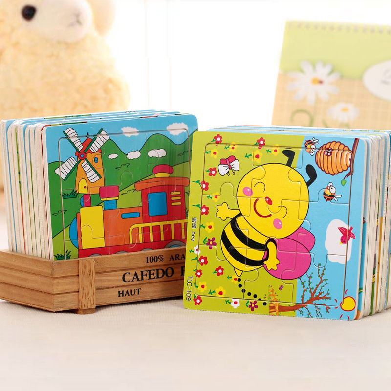 3 pcs / lots Educational 3d Wooden Jigsaw Toys Kids Games Puzzles For Children Cartoon Learning Education Toys style random(China (Mainland))