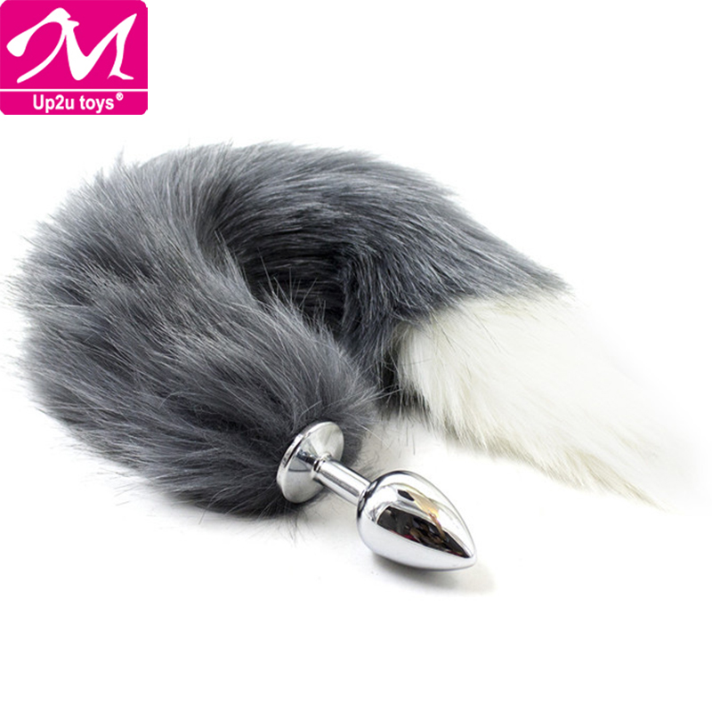 Faux Fox Tail Anal Metal Plug Stainless Steel Butt Plug Anal Stimulator Juguetes Sexuales Anales Anal Ball Rush Poppers Sex Toys(China (Mainland))