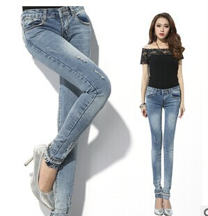 Free Shipping ! Hot Sale Korea Single - Breasted Skinny Women Jeans Fashion Pencil Pants Trousers(China (Mainland))