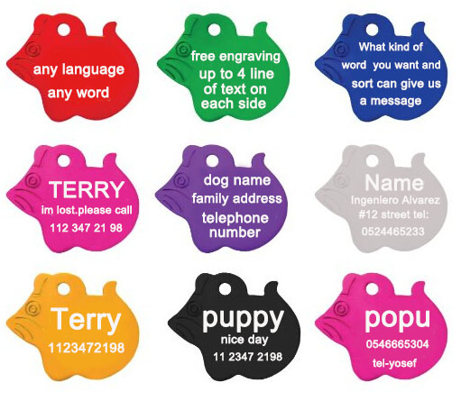 2pcs/lot Free Personalized engraving text on pet id tags dog cat accessories Mouse styles dog tag engraving name address(China (Mainland))