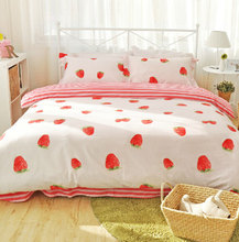Cute pink strawberry bedding sets adults,full queen 100%cotton orange banana home textiles flat sheets pillow case duvet cover(China (Mainland))