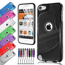 S-Line Silicone Gel Case Cover & Screen Protector & Stylus Pen For APPLE iPOD TOUCH 5 5TH / Touch 6 6th(China (Mainland))