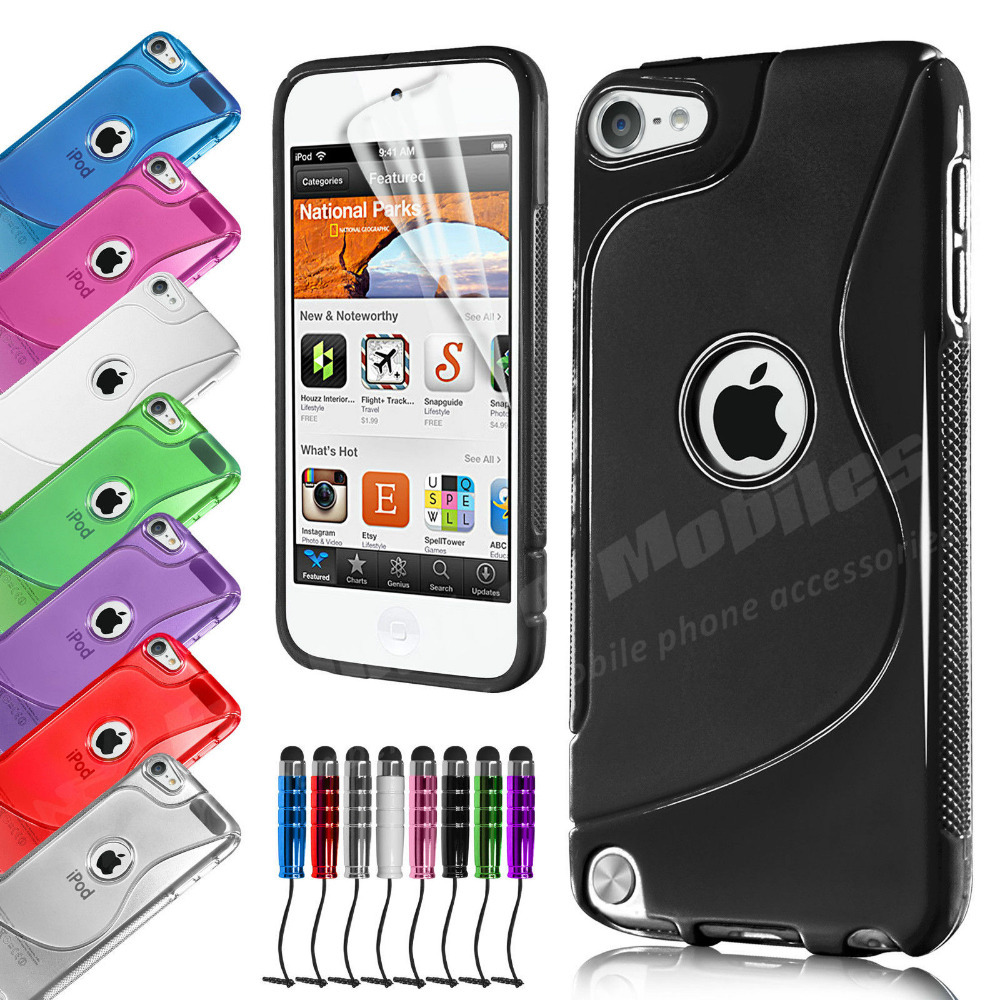 TPU S-Line Silicone Gel Phone Case Cover & Screen Protector & Stylus Pen For APPLE iPOD TOUCH 5 5TH GEN(China (Mainland))