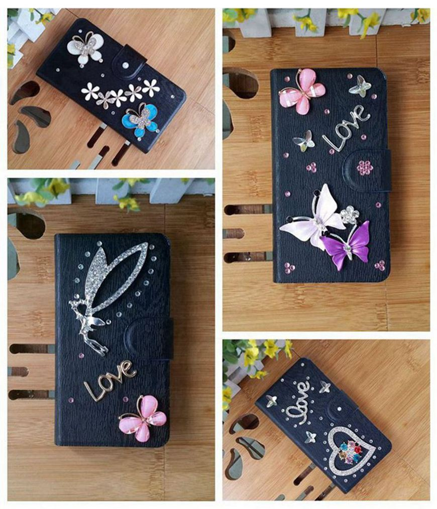 DIY Diamond Flower Butterfly Pearl Card Slot Black Leather PU Flip Case Cover For LG Optimus G Pro E980 F240 F240K F240S E988(China (Mainland))