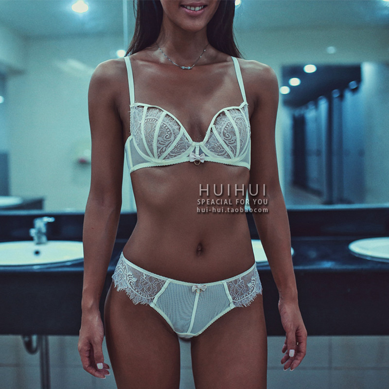 Sexy Mousse Deep V-neck Embroidery Thin Cup Bra Underwear Women Set Transparent 3/4 Cup Comfortable Perspectivity Underwear set(China (Mainland))