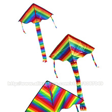High Quality Nylon Rainbow Kite Without Flying Tools Outdoor Fun Sports Colorful Child Triangle Kite(China (Mainland))