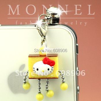 IP341a Cute Hello Kitty Robot Anti Dust plug Ear Cap Cover for iphone Cell Phone