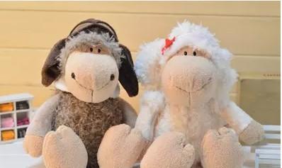 "nici pilot stewardess lamb lamb doll couple doll 2pcs / lot35cm (13.78 "") plush toy child's birthday gift AB100(China (Mainland))"