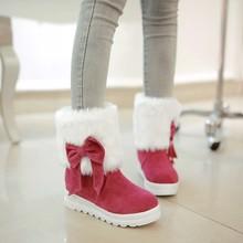 Zapatos de mujer dulce botas de piel de invierno Gentlewomen talón plano botas de nieve caliente zapatos de moda zapatos de plataforma casuales tamaño grande 34-43(China (Mainland))