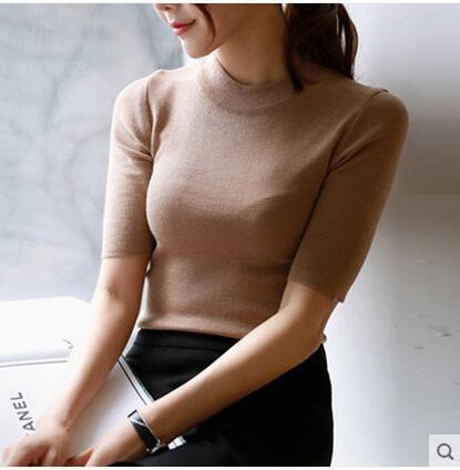2015 женщин весна пятый рукав свитер женский тонкий облегающие пуловер половина рукава ...