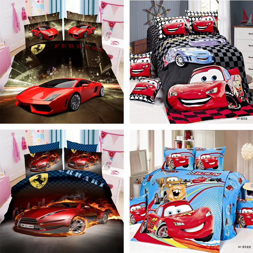 Amazing bed linen 3d Race cars 2/3 Pieces bedding set twin/single size boys duvet cover flat sheet pillow case set(China (Mainland))