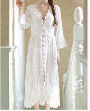 European Fashion Women Lace Bathrobe Pregnant Transparent Kimono Long Robe Sexy Charming Lingerie Nightgown Sleepwear(China (Mainland))