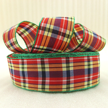 10Y42284 width:21mm red plaid scotish ribbon printed polyester ribbon 10 yards, DIY handmade materials, wedding gift wrap