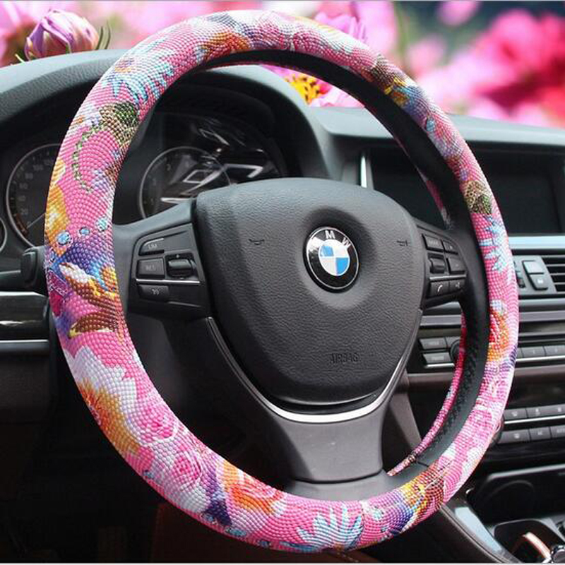 Special Custom Brand New Personalized&amp;Cute Car Pink Steering Wheel Cover PU Leather With Flowers For Most Car Styling#S134<br><br>Aliexpress