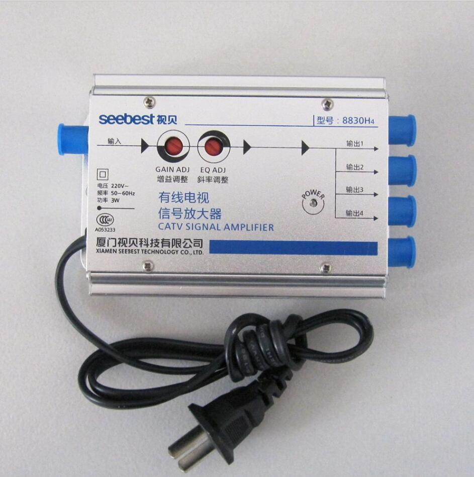 AC 220V EU plug 30db Adjustable Cable 45-860MHz 2W TV Signal Amplifier 1 In 4 Out CATV Amplifier(China (Mainland))