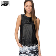 Laisiyi Sexy Camis 2016 Black Crochet Hollow Out PU Leather Women Tank tops Sleeveless Tops VE1168(China (Mainland))
