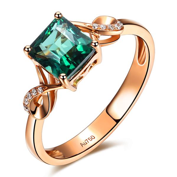 GVBORI Skeleton 18K Rose Gold 1.2CT Tourmaline Green Gemstone Diamond Wedding Ring For Women Fine Jewelry Engagement Square<br><br>Aliexpress