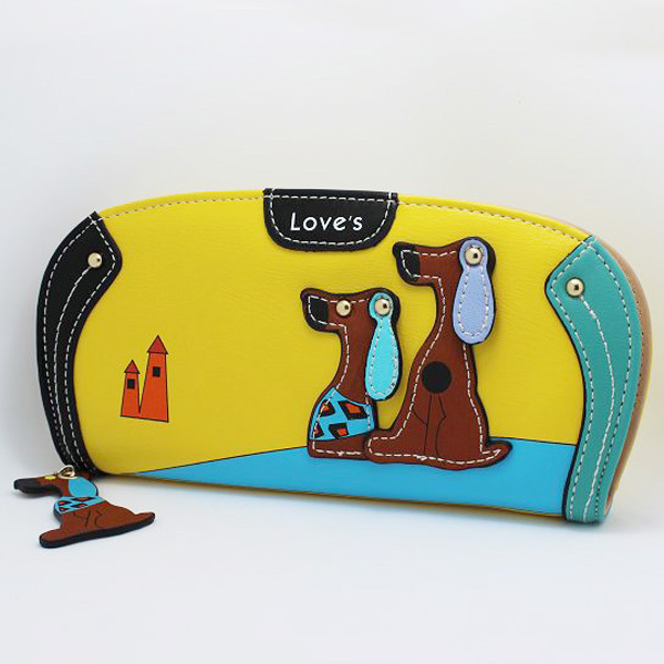 New Arrive Cute PU Leather Women Long Wallet Puppy Zipper Clutches Cartoon Dog 6 Colors Female Wallets Lady Clutch Change Purse(China (Mainland))